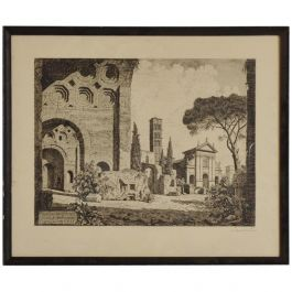 Antique Italian Etching Signed by Laurenzi, Secret Message Inside