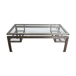 1960s Brushed Steel Coffee Table