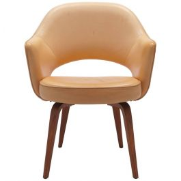 Vintage Vegetal Leather Eero Saarinen, Knoll Conference Armchair