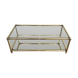 1970s Brass Coffee Table With Brass Noddles on Corners