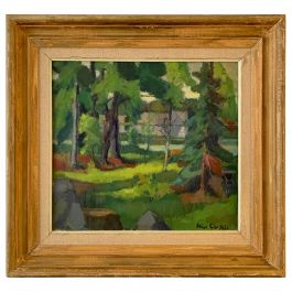 Midcentury Swedish Modern Green Forrest Gouache Painting by Helge Cardell