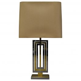 Willy Rizzo Brass and Chrome Table Lamp, Italy, 1970s