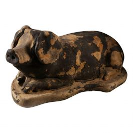 19th Century Animal Sculpture, a Painted Stone Model of a Pig with Black Paint