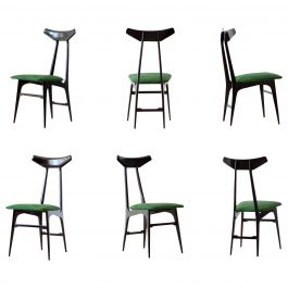 Italian Green Suede Leather Dining Chairs, 1950s