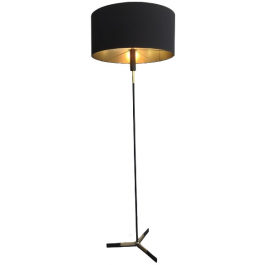 BLACK LACQUERED AND BRASS FLOOR LAMP