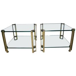 Pair of Brass and Glass End Tables