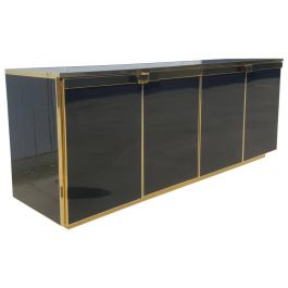 1975s Brass and Black Glass Five Doors Credenza