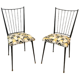 COLETTE GUEDEN. PAIR OF BLACK LACQUERED CHAIRS