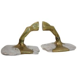 Pair of Handmade Brutalist David Marshall Bookends in Aluminium and Cast Brass