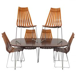 Hans Brattrud Rosewood Dining Table & Six Scandia Chairs, Hove Mobler circa 1965