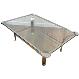 DESIGN CHROME COFFEE TABLE WITH GLASS SHELVES