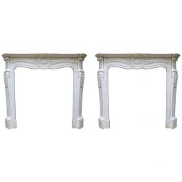 Pair of French Antique 18th Century Style Fireplace Mantels