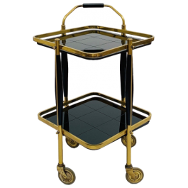 Square brass and opaline trolley