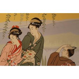 19th Century Three Panels Wallpaper Depicting A Japanese Scene By Zuber
