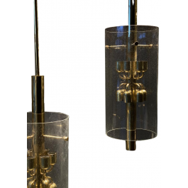 4 Large 1970s Brass and Glass Lanterns
