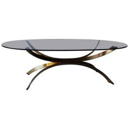 1970s Maria Pergay Style Chrome Coffee Table with a Gold Finish