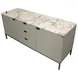 Florence Knoll Credenza in Pastel Grey/Green and Marble Top, 1961