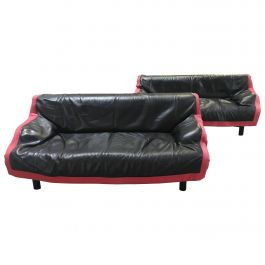 Italian Sindbad Leather Sofa from 1980s by Vico Magistretti for Cassina