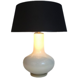 White Crackled Ceramic Table Lamp With Black Shade