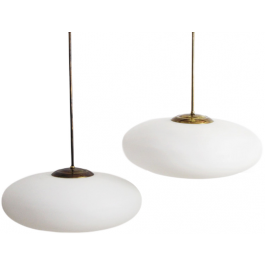 A Pair of Mid Century Stilnovo Opaline Glass & Brass Pendant Lights