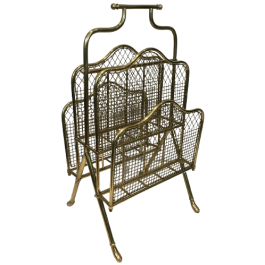 Exceptional Neoclassical Brass Magazine Rack