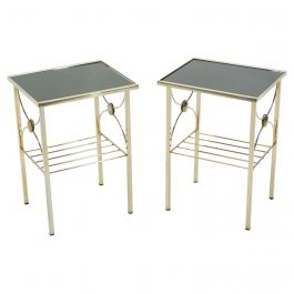 French Gilded Metal and Black Opaline Glass End Tables, 1960s