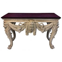 English Carved and Painted Mahogany Console Table with a Solid Porphyry Top