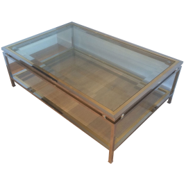 Chrome And Brass Rectangular Coffee Table. French