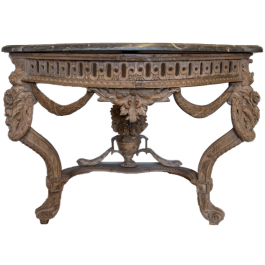 A late 18th century French console table with fossil marble top