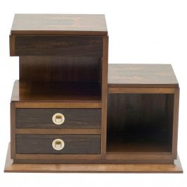 French Art Deco Modernist Rosewood Brass Sewing Cabinet, 1940s