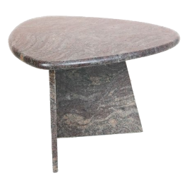 Vintage Italian Marble Side Table - Charcoal and Magenta