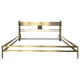 Midcentury Brass and Bronze Bed Frame, Model Greta, by Frigerio, Italy, 1970s