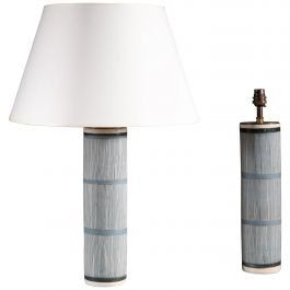 Pair of Dark Blue and White Striped Contemporary Ceramic Studio Pottery Lamps