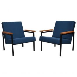 Pair of Gijs van der Sluis Chairs in New Upholstery, Netherlands, circa 1960
