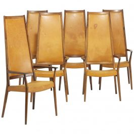 Set of Six Steffen Syrach Larsen High-Back Rosewood Carvers, Denmark, circa 1965