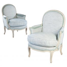Pair of Painted Louis XV Bergere Armchairs
