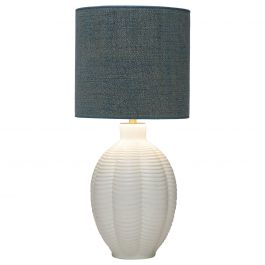 Refined Upsala Ekeby Swedish Modern Ceramic Table Lamp, Blue Shade
