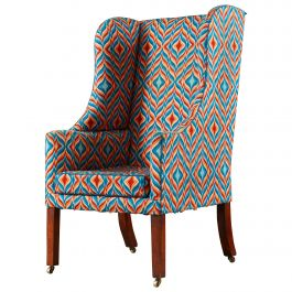 Early 19th Century Wingback Armchair, Later Bargello Flame Stitch Needlework