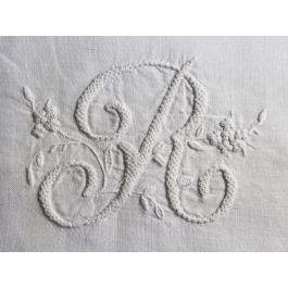 R 40cm Square Cushion - Antique French R Monogram on Linen P4015