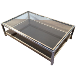 ATT. TO WILLY RIZZO. CHROME & BRASS COFFEE TABLE