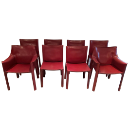 Red Leather Cab Dining Chairs by Mario Bellini for Cassina, 1970s, Set of 8