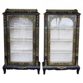 Pair of 19th Century French Ebonised Boulle Cabinets