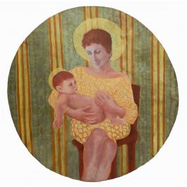 Perez Petriarte Mother and Child by Perez Petriarte Oil on Board 1980s