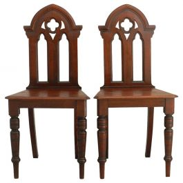 Pair of Gothic Revival Side Chairs, Late 19th Century