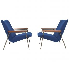 Pair of Rob Parry Lounge Armchairs with New Kvadrat Upholstery, circa 1950
