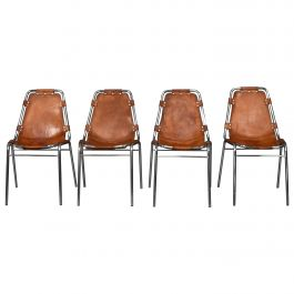 Set of Four Les Arcs Chairs Selected by Charlotte Perriand, 1960s