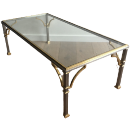 Neoclassical Brushed Steel And Brass Coffee Table