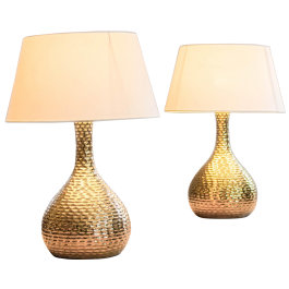 A PAIR OF GILDED METAL GOURD SHAPE TABLE LAMPS