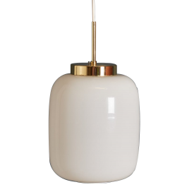 Mid-Century Danish White Glass and Brass Pendant Lamp, 1960s