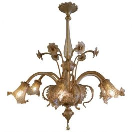 Large Six Arm Venetian Murano Glass Chandelier